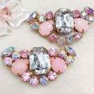 Cute Aurora Rhinestone Crystal Pink Wedding Bridal Shoe Charm Clips Pair