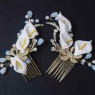 A Pair Wedding Lily Flower Gold Tone Crystal Headpiece Hair Comb Accessories