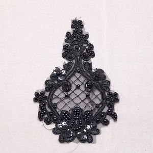 1 Pair Bridal Wedding Black/Off White Flower Embroidered Lace Applique Pair DIY