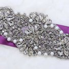 Bridal Sash Motif Silver Beaded Crystal Rhinestone Applique with Pearl