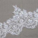 Vintage Bridal Wedding Sequin Cream White Flower Lace Trim Veil Per 1/2 Meter