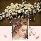 Gold Flower Bridal Wedding Bride Pearl Rhinestone Crystal Tiara Vine Hair Comb