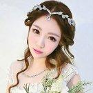 Bridal Wedding Chain Rhinestone Crystal Hair Tiara Dangle Leaf Pattern Headpiece