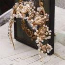Wedding Bridal Gold Leaf Faux Pearl Crystal Tiara Headpiece Hair Accessories