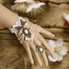 A Pair Halloween Wedding White Flower Lace Slave Bracelet With Ring Gloves