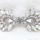 Wedding Bridal Rhinestone Crystal Dress Sash Belt Matching Button Closure Clasp