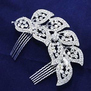 edding Bridal Leaf Feather Rhinestone Crystal Vintage Style Silver Tone Comb