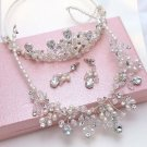 Wedding Bridal Rhinestone Crystal Ivory Pearl Necklace Crown Jewelry Set