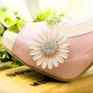 Daisy Sunflower Rose Gold Pink Flower Wedding Bridal Shoe Clips Charms Pair