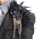 Black Feather Boutonniere Stick Groom Mens Accessories Lapel Brooch Pin