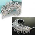 Vintage Wedding Bridal Feather Aurora Rhinestone Crystal Bouquet Brooch Pin