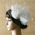 Off White Feather Veil Organza Rhinestone Acrylic Wedding Bridal Hair Fascinator