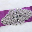 Vintage Style Motif Star Flower Rhinestone Beaded Bridal Belt Sew on Applique