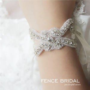 Vintage Bridal Wedding Rhinestone Crystal Applique Ribbon Bracelet Jewelry