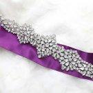 Elegant Beaded Long Rhinestone Crystal Bridal Sash Wedding Belt Applique Trim