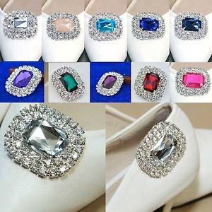 A Pair of Fashion Colourful Acrylic Rhinestone Crystal Wedding Women Shoe Clips