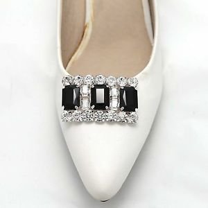 Ladies Women Fashion Black Rhinestone Crystal Shoes Charms Clips Pair