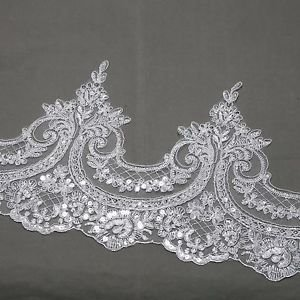 Wedding Poem Dress Sequin Beaded Off White Embroidered Lace Trim 1/2 Meter