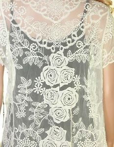 Women Casual Ivory Long Top Rose Floral Lace Short Sleeve Sweater Outwear