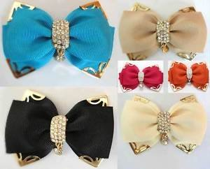 Black Ivory Blue Fashion Bow Crystal Wedding Women Shoe Clips Charms Pair -CA