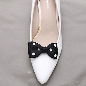 Fashion Women Ladies Black White Dot Circle Ribbon Bow Shoe Clips Pair