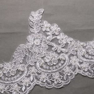 Wedding Veil Craft Bridal Pearl Beaded Embroidered Off White Lace Trim 1 Yard