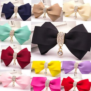 Fashion Women Dangle Rhinestone Crystal Color Ribbon Bow Shoe Clips Charms