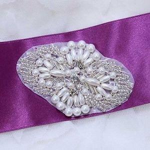 Lot Of 4 Small White Faux Pearl Beaded Wedding Rhinestone Crystal Applique DIY