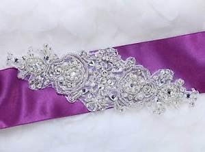 "7"" Vintage Snow Snowflake Wedding Sash Beaded Pearl Belt Iron Sew Applique"