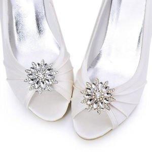 Silver Gold Tone Flower Wedding Bridal Fashion Shoe Charms Clips Pair