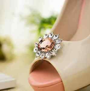 Women Fashion Wedding Bridal Rhinestone Crystal Oval Shoe Clips Charms Pair