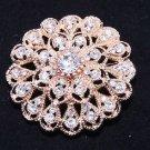Rose Gold Tone Rhinestone Crystal Flower Wedding Cake Sash Brooch Pin