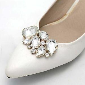 Women Girls Rhinestone Crystal Wedding Bridal Gold Tone Shoe Clips Pair