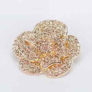 Champagne Gold Crystal Rose Flower Shoe Charm Clips Pair Wedding Jewelry