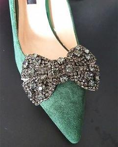 A Pair Black Base Grey Rhinestone Crystal Wedding Bridal Bow Ribbon Shoe Clips