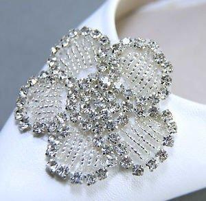 A Pair Wedding Bridal Rhinestone Crystal Applique Flower Motif Shoe Clips