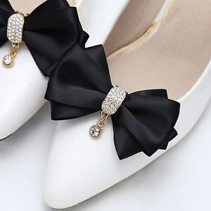 Rhinestone Crystal Dangle Center Ribbon Black Pink Bow Shoe Clips Pair