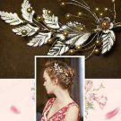 Gold Faux Pearl Vintage Style Wedding Crystal Hair Clip Headpiece Accessories