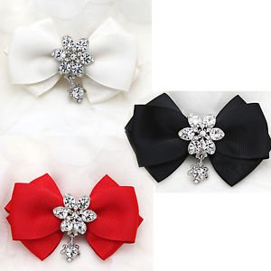 Rhinestone Crystal Dangle Color Ribbon Bow Shoe Charms Clips Pair