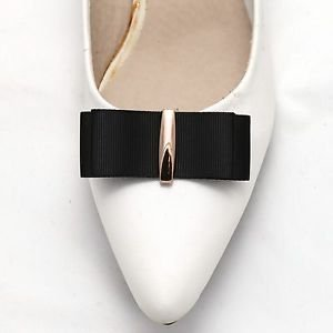 Fashion Black Grosgrain Ribbon Bow Gold Decoration Shoe Clips Pair Charms