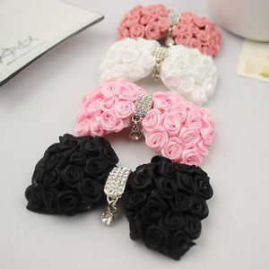 A Pair of Black White Pink Rosy Rose Bow Fashion Ladies Shoe Clips