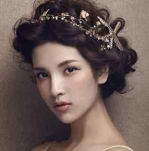 Beach Wedding Bridal Starfish Shell Pearl Crystal Gold Tiara Headpiece Hair Clip