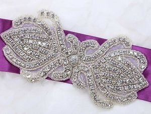 Wedding Dress Sash Craft Beaded Rhinestone Crystal Applique DIY