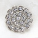 Wedding Bridal Rhinestone Crystal Round Flower Brooch Pin