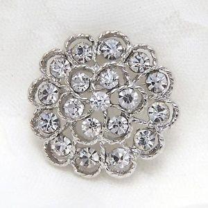 Wedding Bridal Rhinestone Crystal Round Flower Brooch Pin