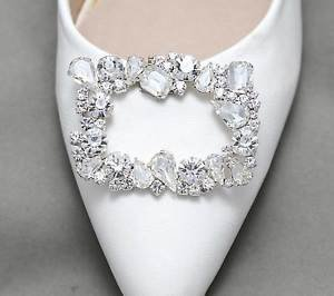 Silver Rhinestone Crystals Wedding Bridal Rhinestone Shoe Clips Charms Pair