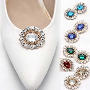 Wedding Bridal Women Fashion Color Rhinestone Crystal Shoe Charms Clips Pair
