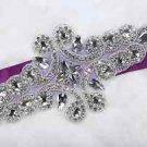 Wedding Bridal Dress Sash Large Rhinestone Crystal Applique DIY