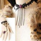 Halloween Black Lace Gothic Purple Flower Chain Choker Necklace Bracelet Set