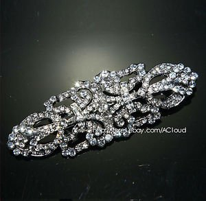 Vintage Style Long Wedding Dress Gown Sash Brooch Pin Jewelry